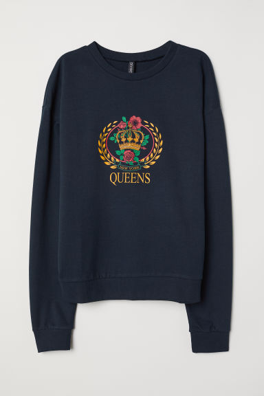 Sweater met print - Donkerblauw/Queens -  | H&M BE