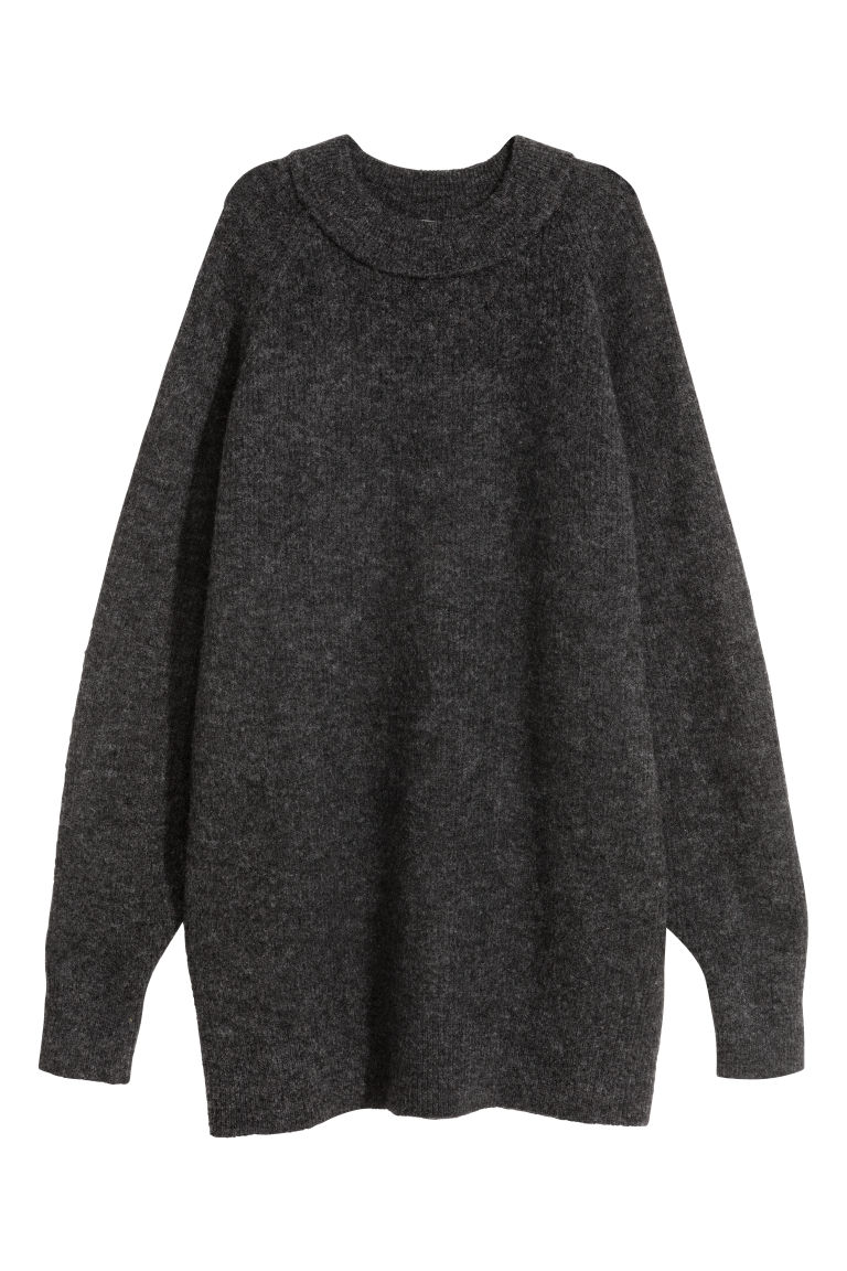 Long wool-blend jumper - Dark grey - Ladies | H&M CN