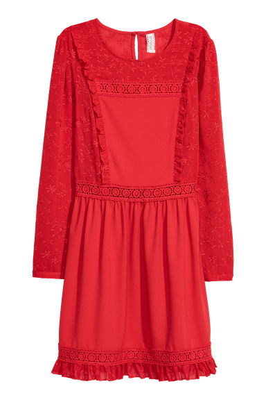 Lace-trim dress - Red - Ladies | H&M CN