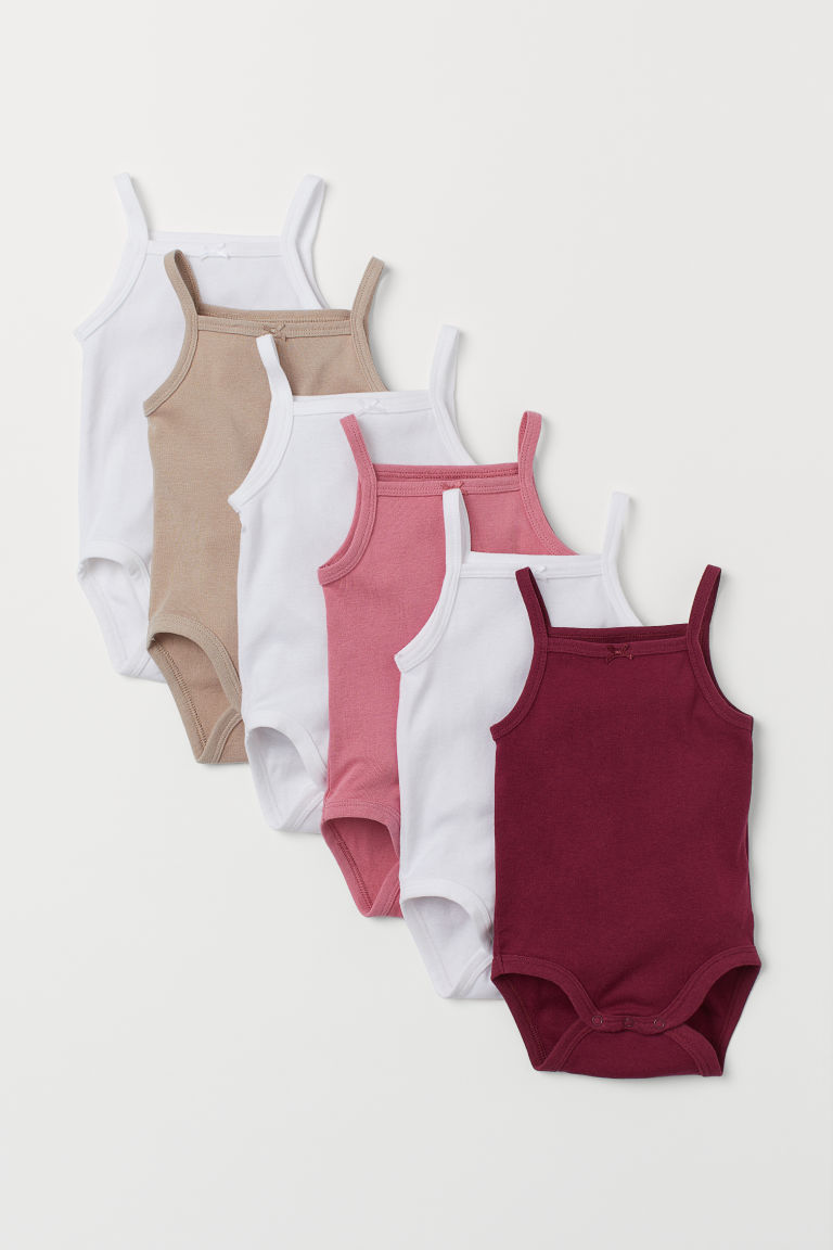 6-pack Sleeveless Bodysuits - Dark red - Kids | H&M US