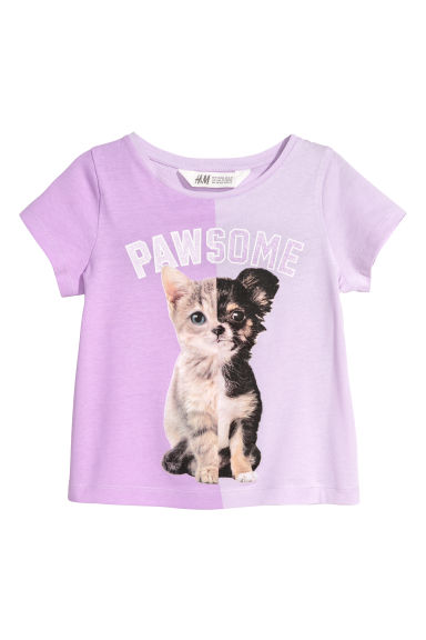 Printed jersey top - Light purple/Animals -  | H&M