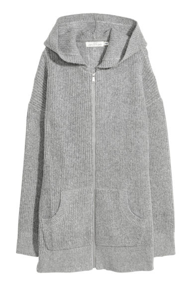 Knitted hooded cardigan - Grey marl -  | H&M