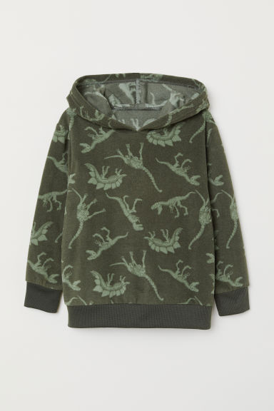 Patterned hooded top - Dark green/Fleece - Kids | H&M GB
