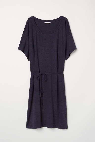 Linen-blend dress - Dark blue - Ladies | H&M