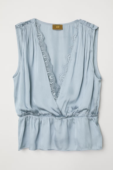 Satin top - Dusky blue - Ladies | H&M CN