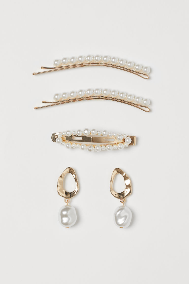 Hair Clips and Earrings - Gold-colored/white - Ladies | H&M CA