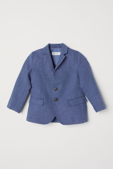 Textured-weave jacket - Dark blue - Kids | H&M