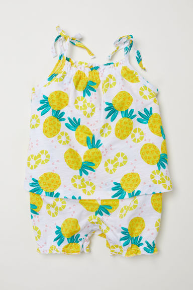 Cotton jersey romper suit - White/Pineapples -  | H&M CN