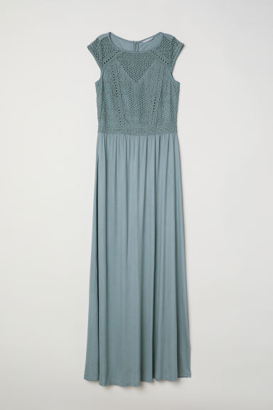 Long dress with a lace bodice - Dusky green - Ladies | H&M CN