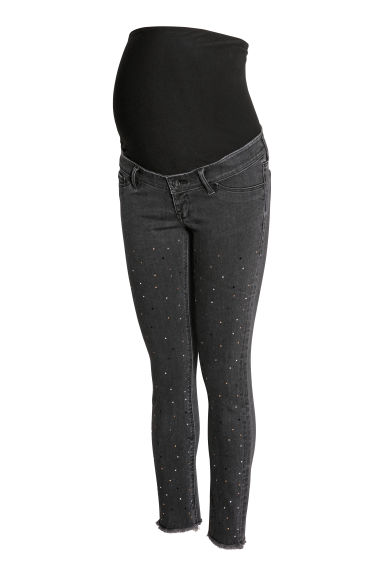 MAMA Skinny Ankle Jeans - Gris foncé/strass -  | H&M CH