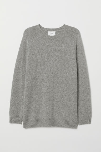 Knitted wool-blend jumper - Light grey marl - Men | H&M