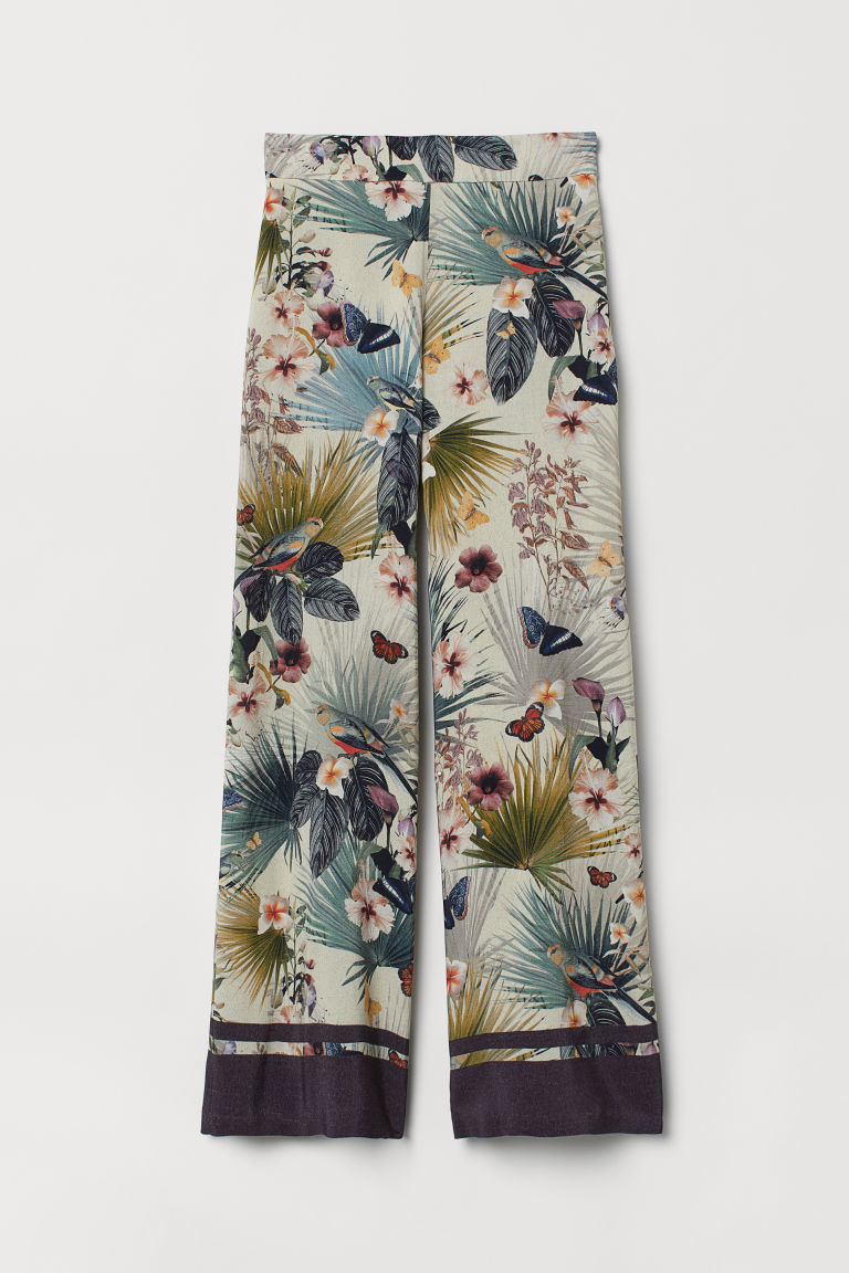 Pantalón ancho - Blanco natural/Estampado - Ladies | H&M MX