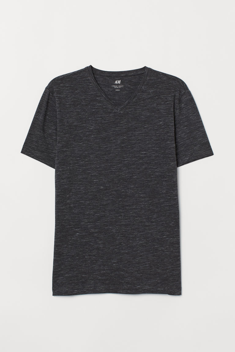 T-shirt met V-hals - Slim fit - Zwart gemêleerd - HEREN | H&M BE