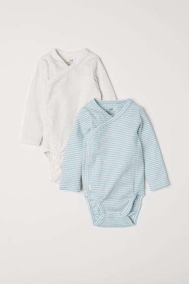 2-pack long-sleeved bodysuits - Light turquoise/Striped - Kids | H&M