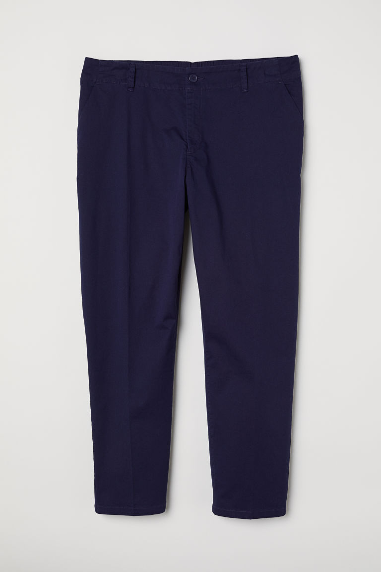 H&M+ Cotton chinos - Dark blue - Ladies | H&M
