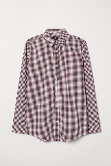 Easy-iron shirt Slim fit - Plum/White checked - Men | H&M