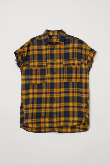 Short-sleeved flannel shirt - Yellow - Men | H&M