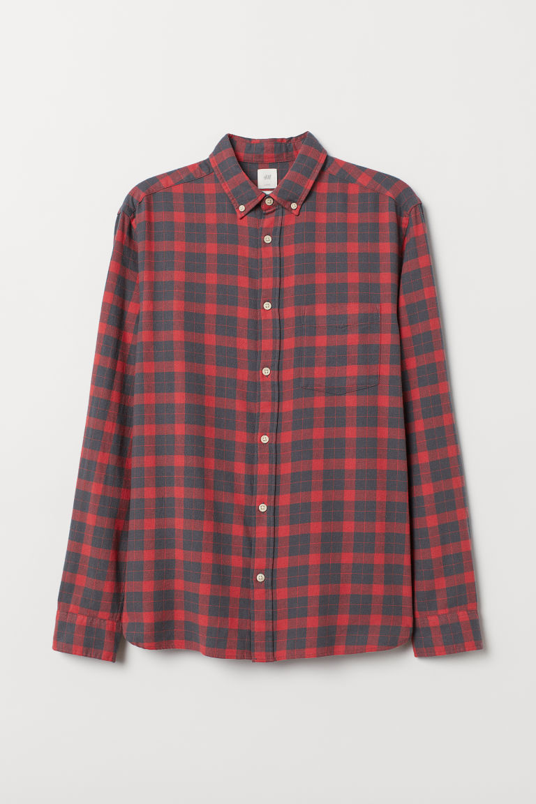 Cotton shirt Regular Fit - Red/Grey -  | H&M