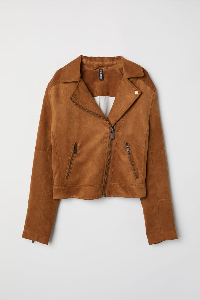 cafa3ddff Faux Suede Biker Jacket - Dark camel - Ladies