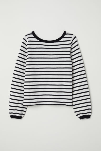 Fine-knit jumper - White/Striped -  | H&M