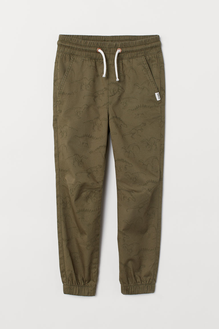 Cotton pull-on trousers - Khaki green/Dinosaurs -  | H&M