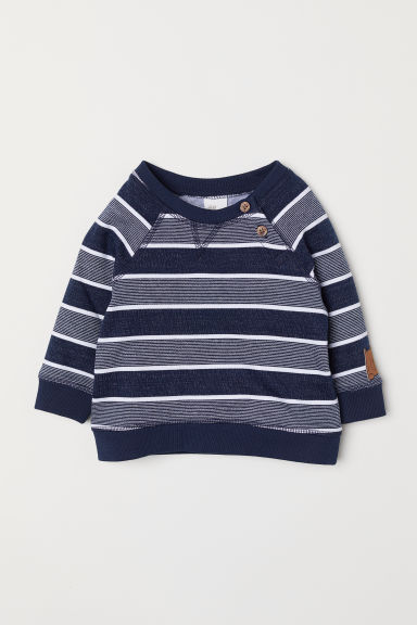 Sweater - Donkerblauw/gestreept -  | H&M BE
