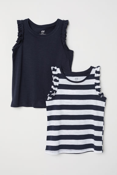 2-pack frilled vest tops - Dark blue/Striped - Kids | H&M