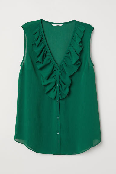 V-neck blouse with a flounce - Dark green - Ladies | H&M