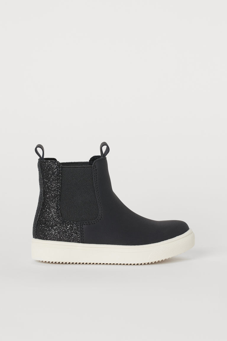 Warm-lined Chelsea boots - Black/Glitter - Kids | H&M GB