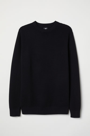 Textured-knit jumper - Black - Men | H&M CN