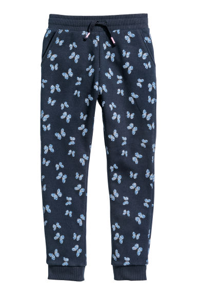 Joggers - Dark blue/Butterflies - Kids | H&M