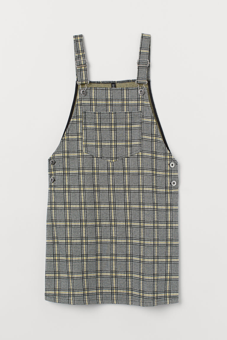 Checked dungaree dress - Yellow/Checked -  | H&M