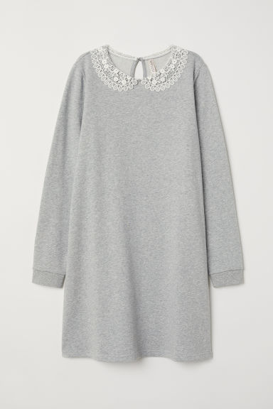 Sweatshirt dress with a collar - Grey marl -  | H&M IE