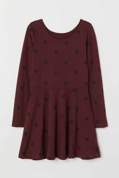 Jersey dress - Burgundy/Hearts -  | H&M