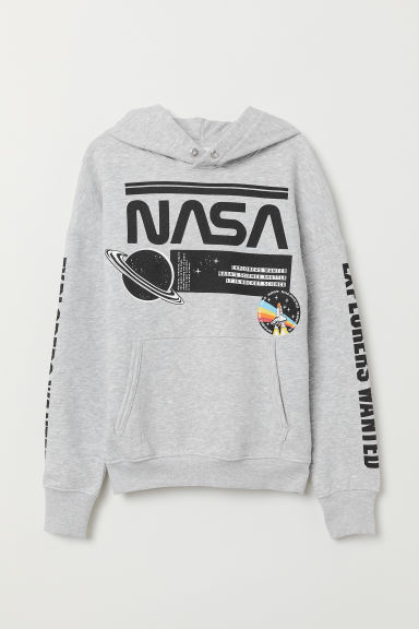 Hooded top with a motif - Light grey marl/NASA - Kids | H&M