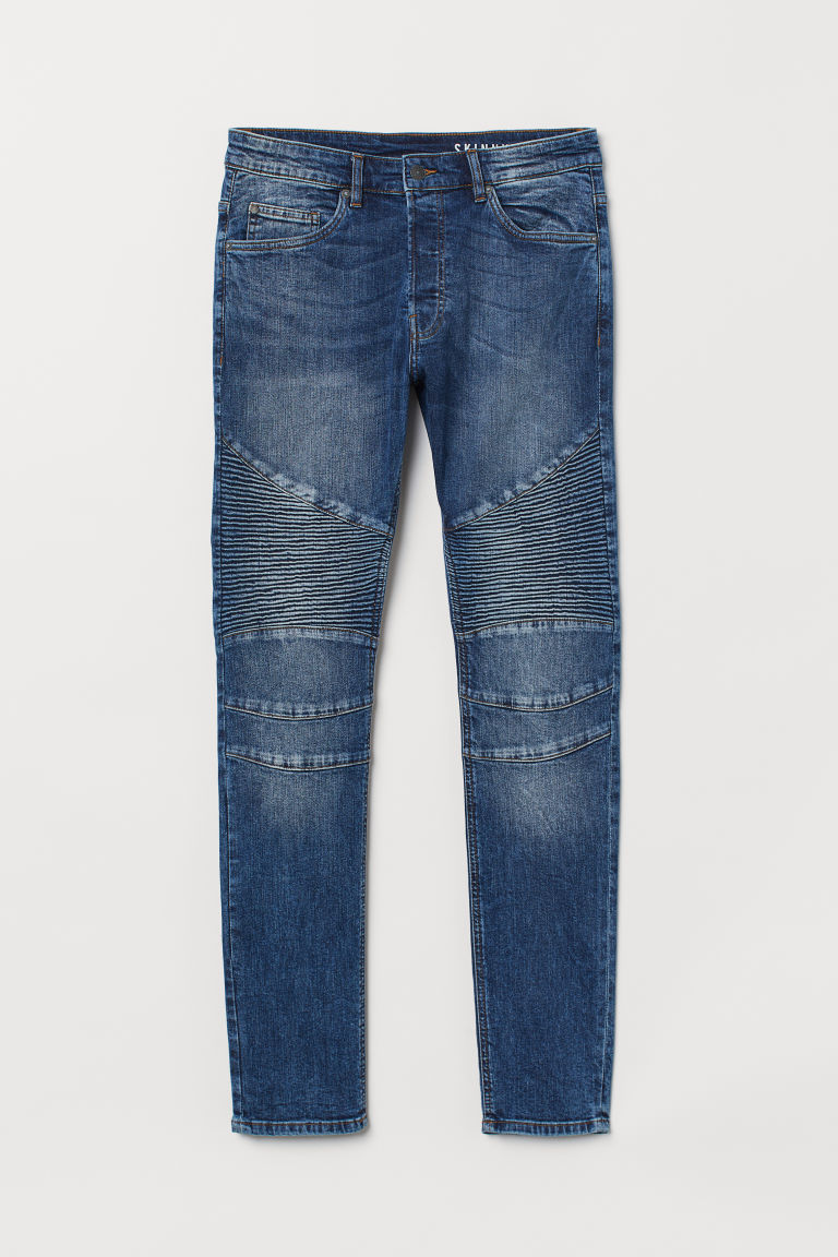 Skinny Biker Jeans - Denim blue/Washed - Men | H&M