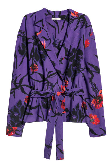 Blouse with a tie - Purple/Patterned -  | H&M