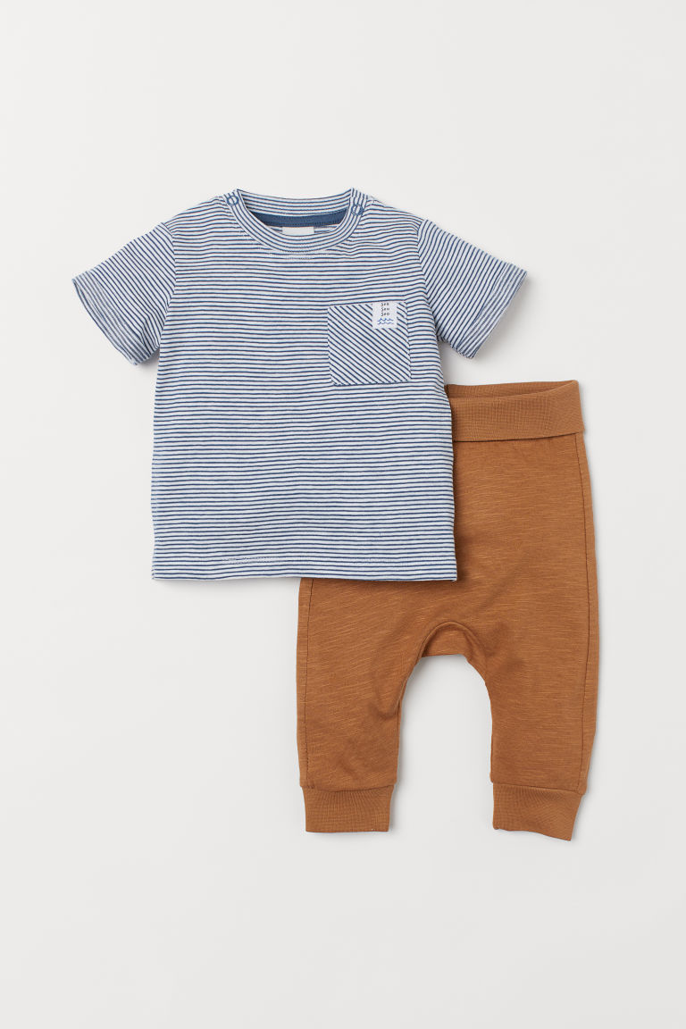 T-shirt and trousers - Beige/Striped - Kids | H&M IE