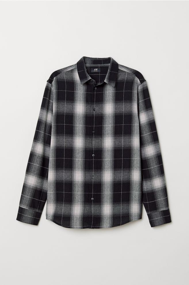 Zwart Wit Geruit Overhemd.Geruit Overhemd Regular Fit Zwart Wit Geruit Heren H M Nl