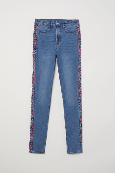 Super Skinny High Jeans - Light denim blue/Embroidery - Ladies | H&M