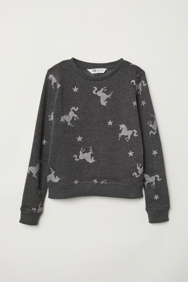 Printed sweatshirt - Dark grey/Unicorns - Kids | H&M