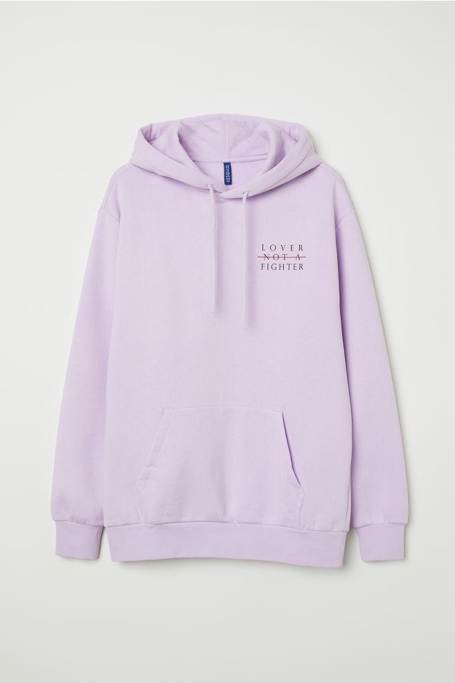9500b28c4a64a Printed Hooded Sweatshirt - Light purple Lover - Men