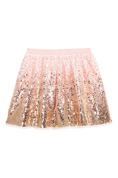 Tulle skirt with sequins - Light pink/Gold-coloured -  | H&M CN