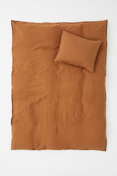 Washed linen duvet cover set - Light brown - Home All | H&M CN