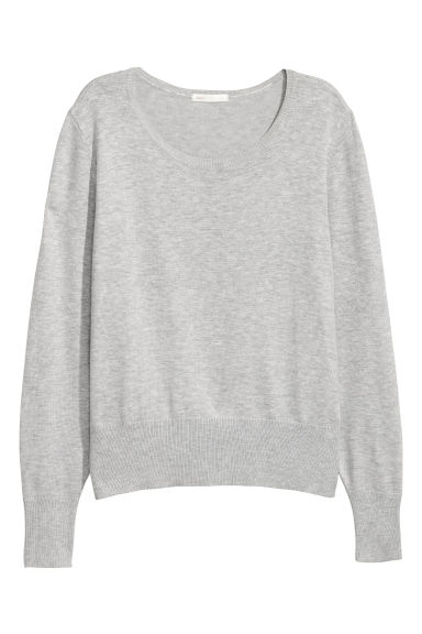 Fine-knit jumper - Light grey -  | H&M IE