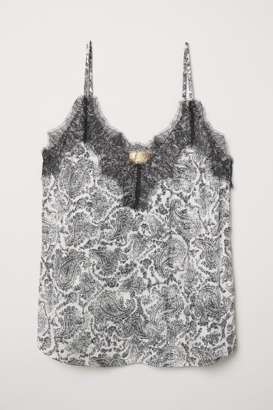 Satin Camisole Top with Lace - Natural white/paisley pattern - Ladies | H&M US