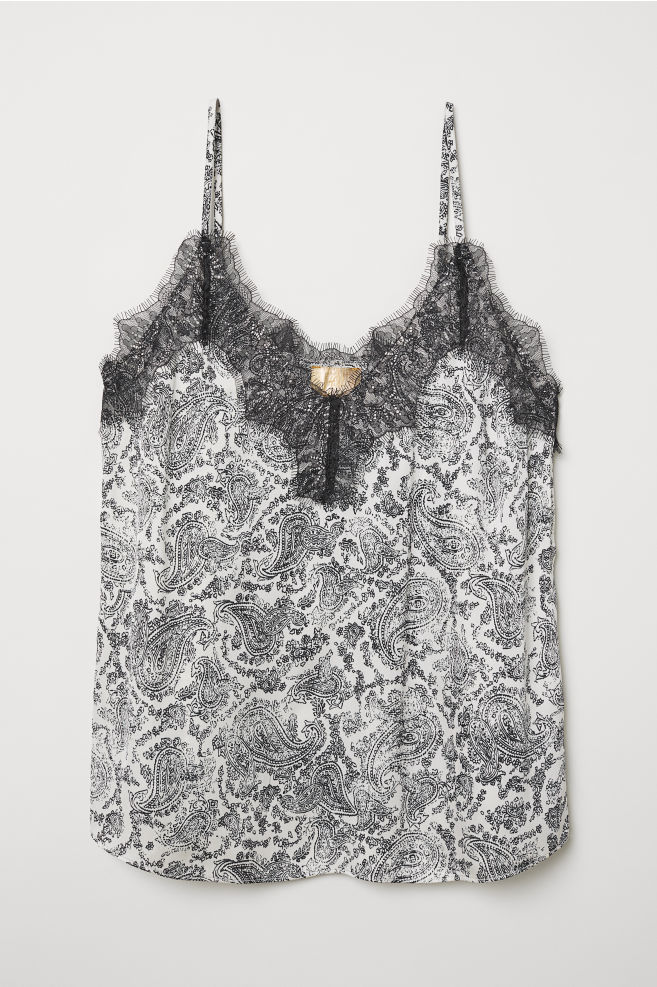 19fc462b402c5 Satin Camisole Top with Lace - Natural white/paisley pattern - Ladies | H&M  US