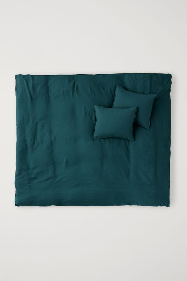 Washed linen duvet cover set - Petrol - Home All | H&M GB
