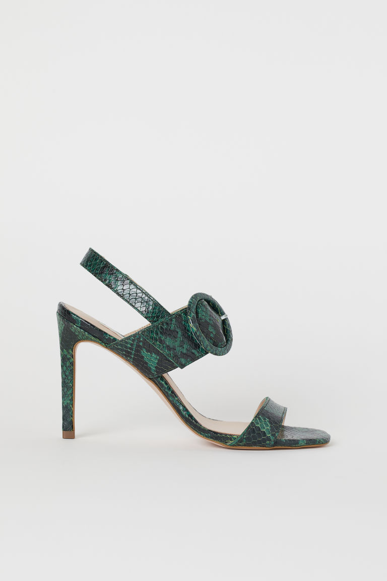 Leather sandals - Dark green/Snakeskin-patterned - Ladies | H&M GB