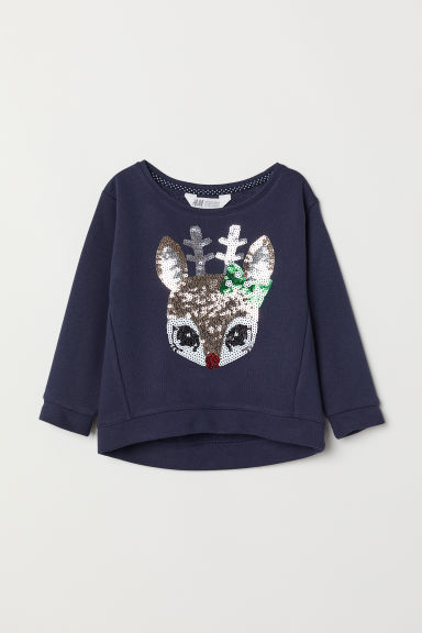Sweatshirt with a motif - Dark blue/Reindeer - Kids | H&M